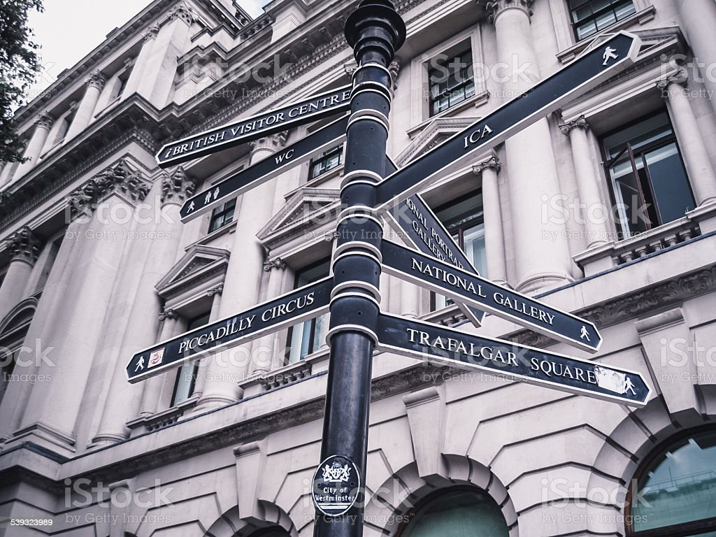 London street sign highlighting iconic local landmarks stock photo