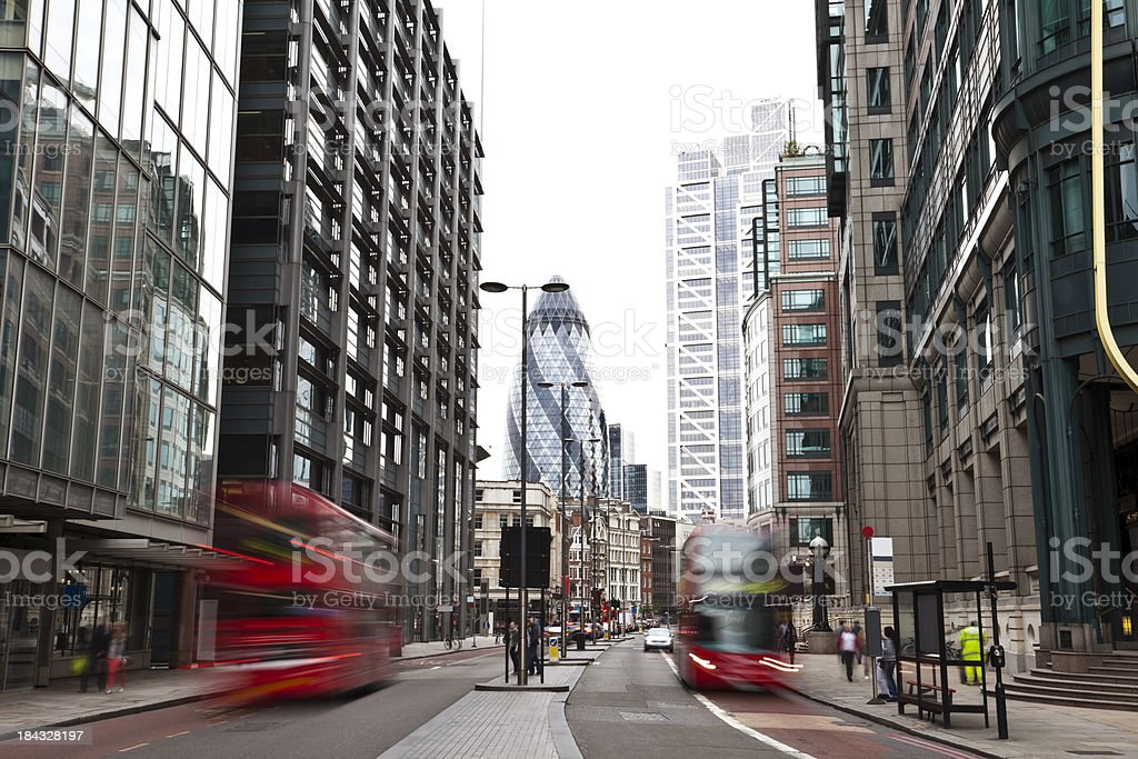 London street with double-decker buses stock photo