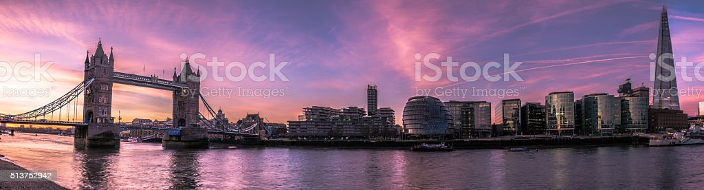 London Sunrise panorama stock photo