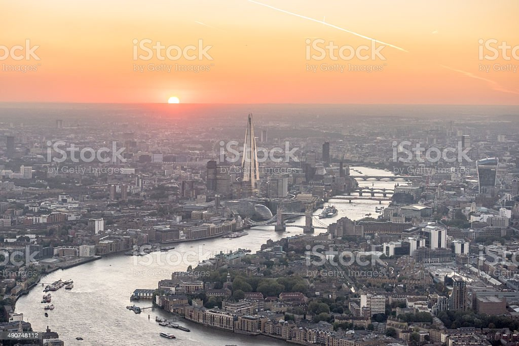 London sunset skyline aerial view over city stock photo