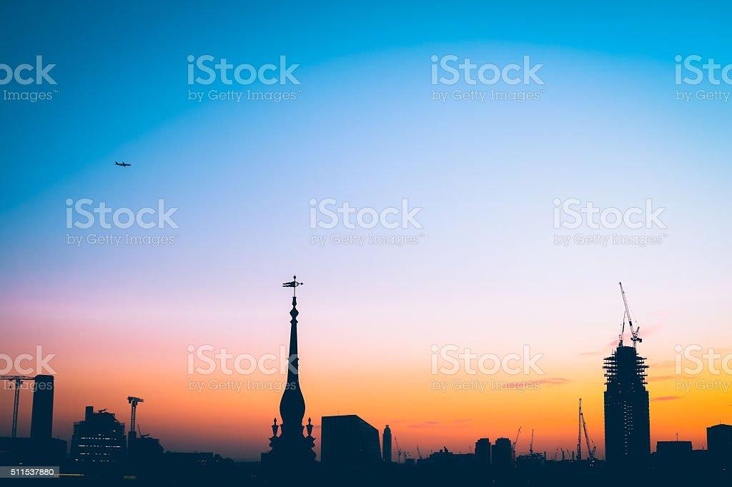 London Sunset Skyline, St Pauls. stock photo
