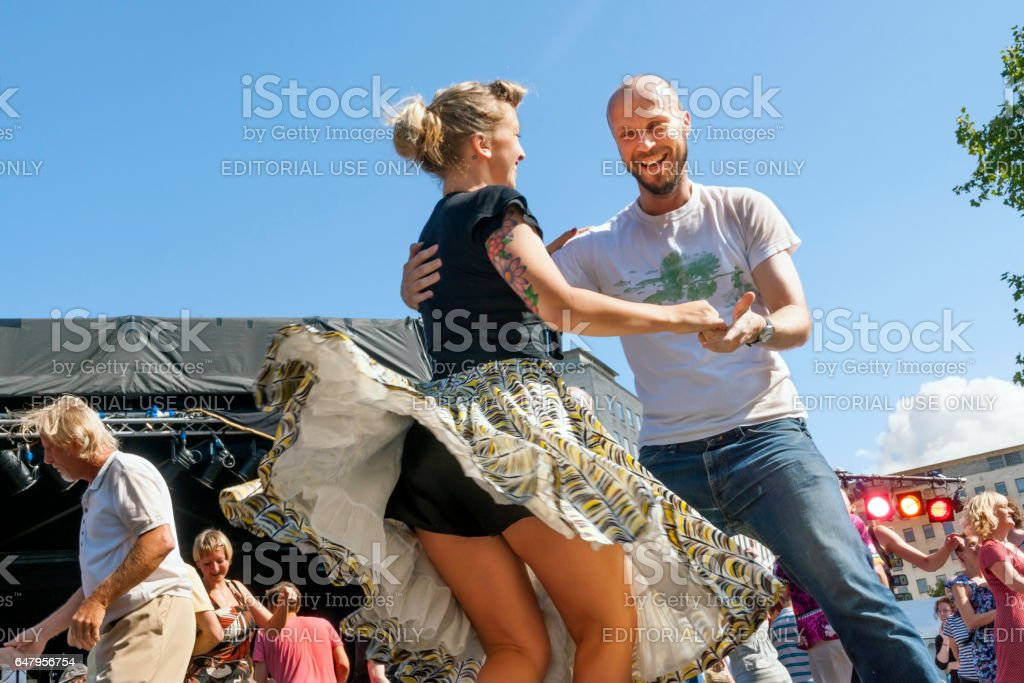London Swing Dancer with a Flaring Skirt, Mayor's Thames Festival stock photo