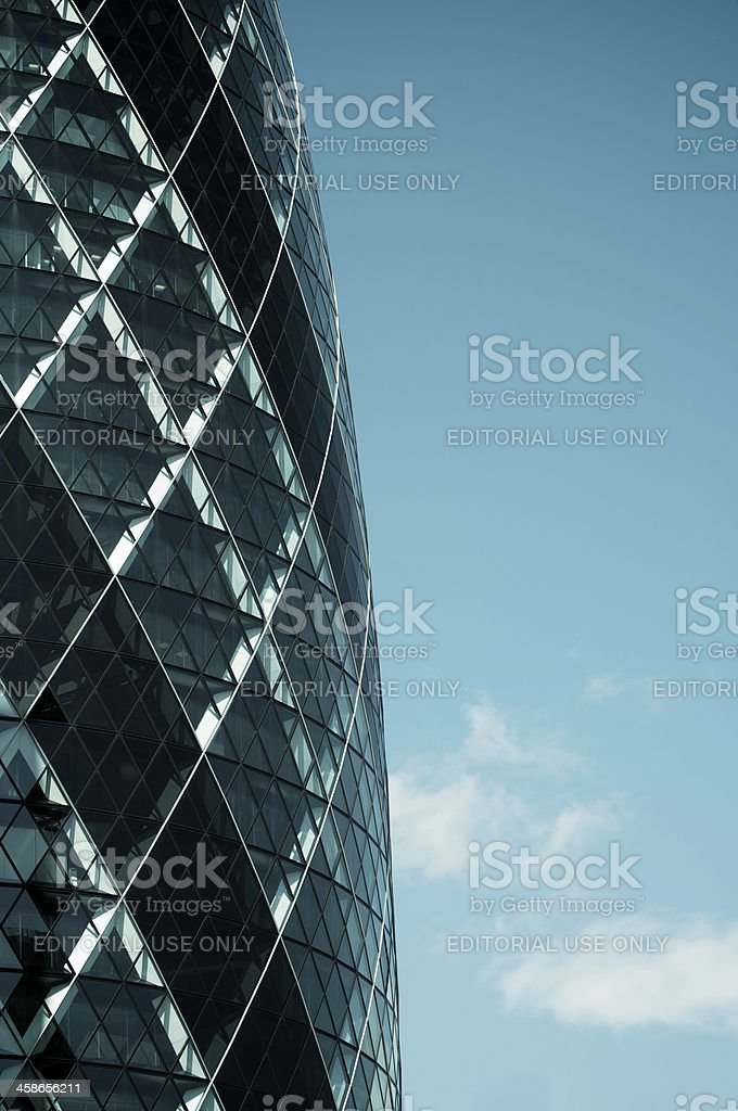 London Swiss Re Gherkin Building Blue Sky stock photo