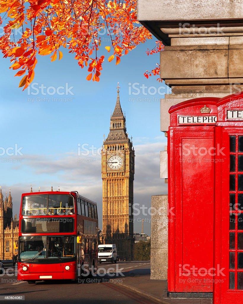 London symbols with Big Ben in England, UK stock photo