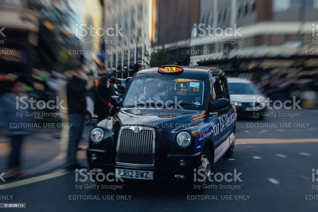London taxi cab or hackney carriage in London city center stock photo