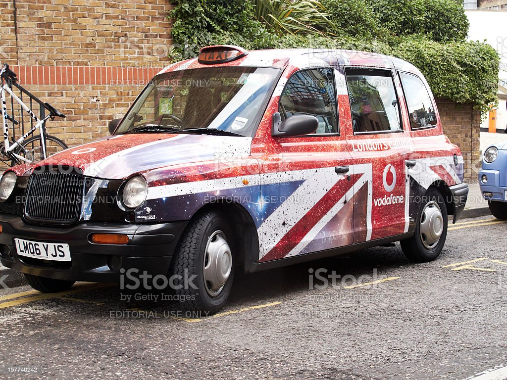 London taxi in Union Jack livery stock photo