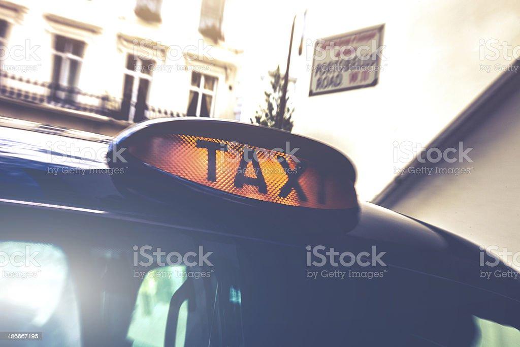 London taxi sign in Portobello Road stock photo