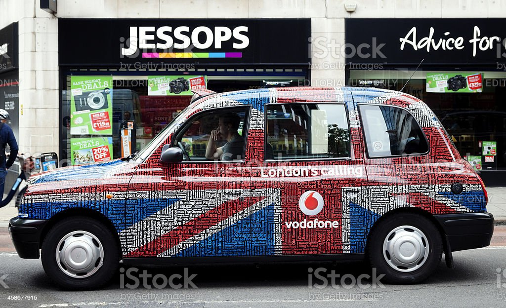 London taxi with Vodafone advertising stock photo