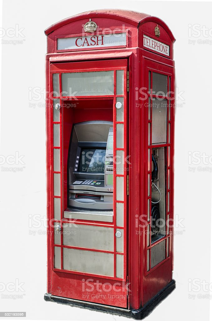 London Technology phone booth isolated on white stock photo