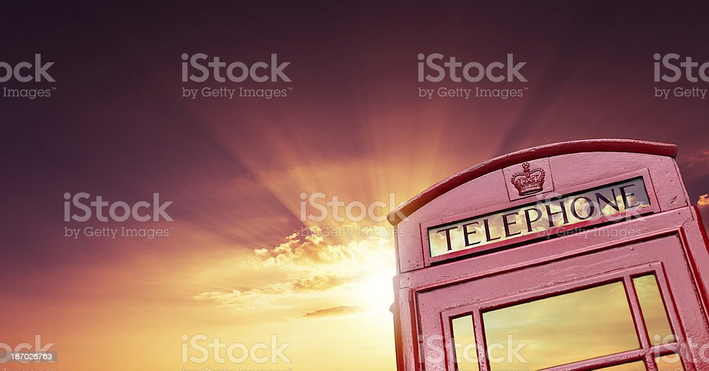 London telephone booth at sunset royalty-free stock photo