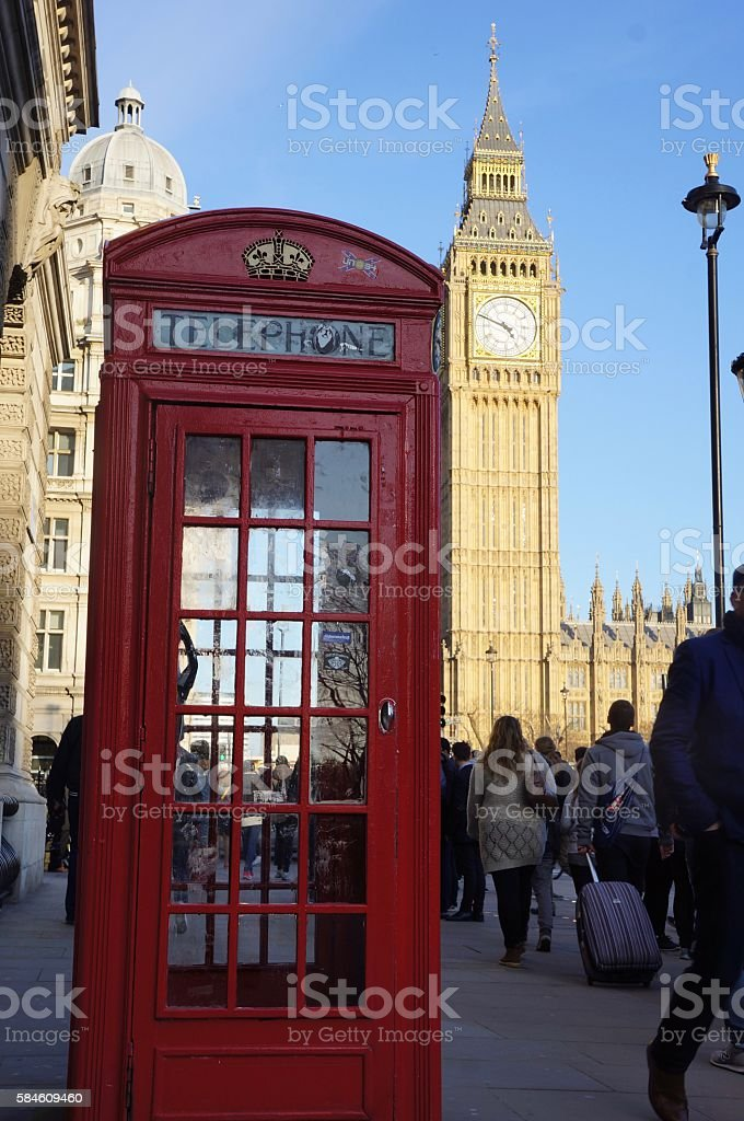 London Telephone Booth Big Ben Clocktower stock photo