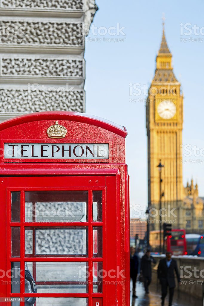 London telephone booth with Big Ben behind royalty-free stock photo