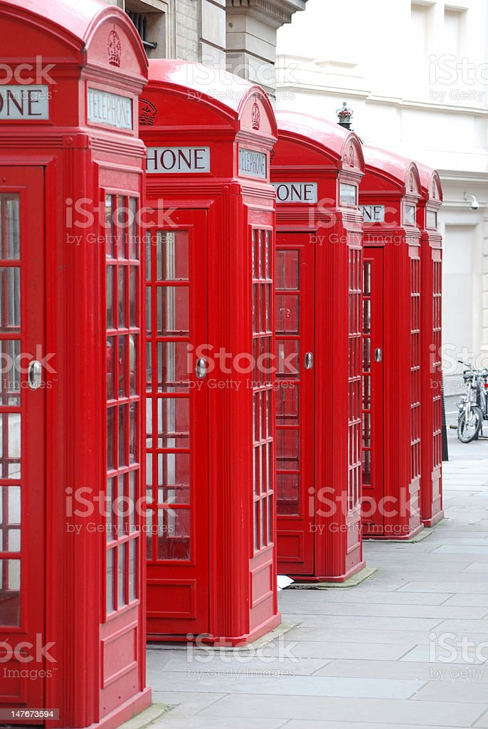 London Telephone Boxes royalty-free stock photo