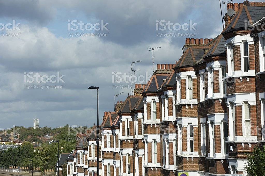 London terraced housing on a hill stock photo