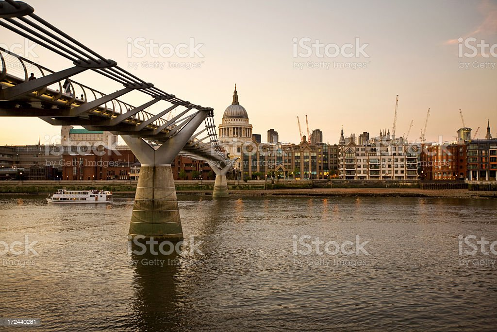 London Thames Millenium Bridge royalty-free stock photo
