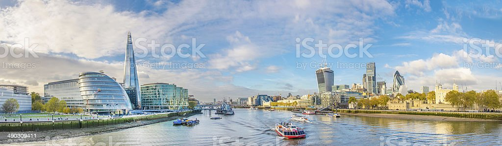 London Thames river, City and Shard stock photo