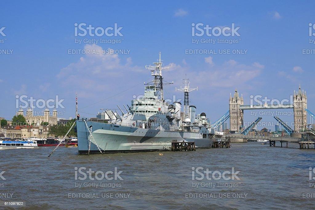 London, Thames River, HMS Belfast, Tower Bridge, Tower of London stock photo