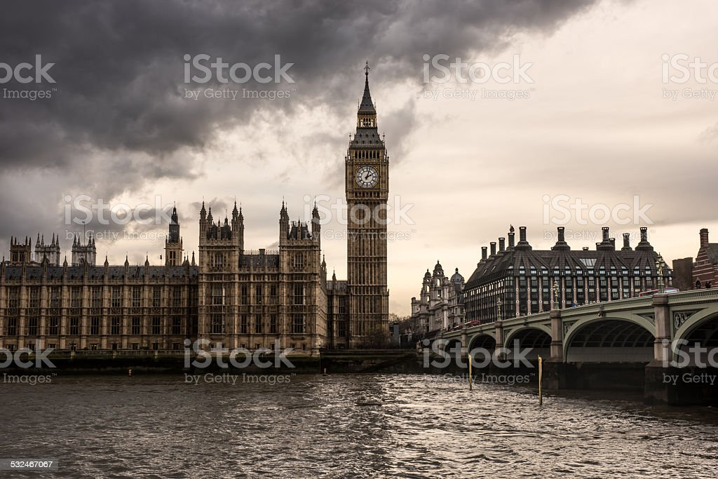 London - The Houses of Parliament and the Big Ben stock photo