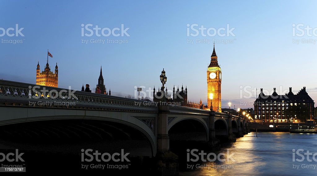 London - The Palace of Westminster at dusk royalty-free stock photo