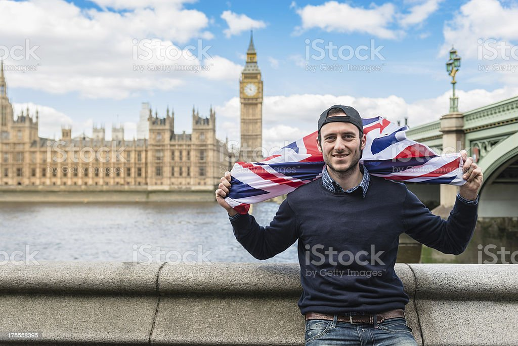 london tourist against big ben and house of parliament royalty-free stock photo