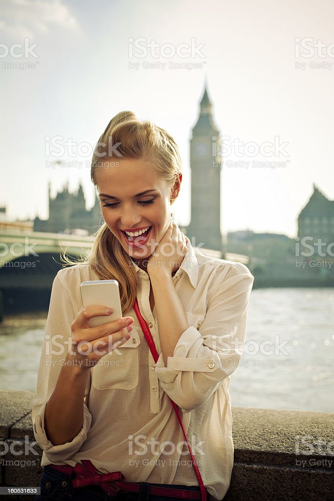 London Tourist with Smart Phone stock photo