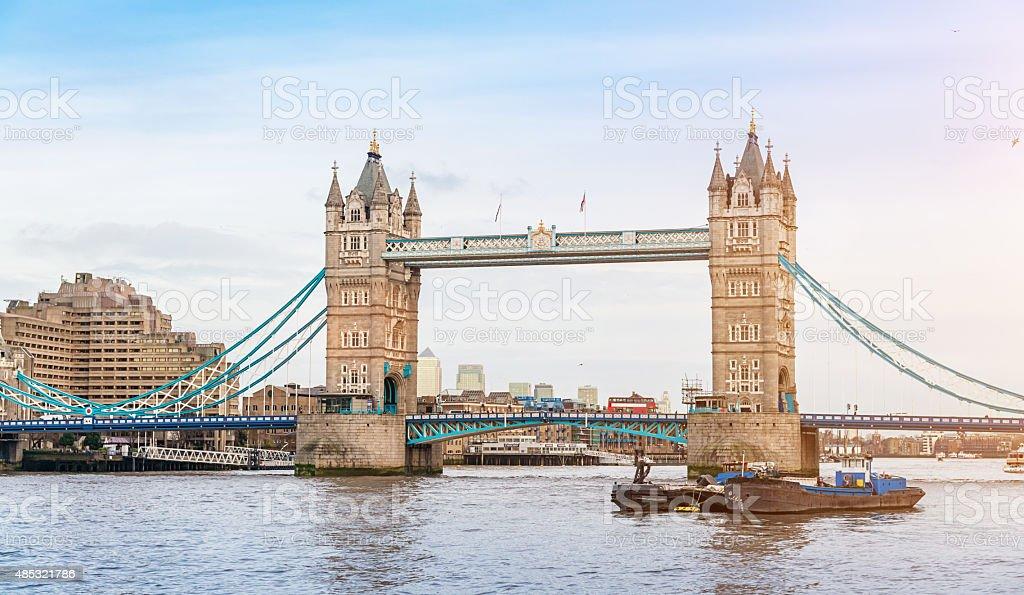 London Tower Bridge at River Thames stock photo