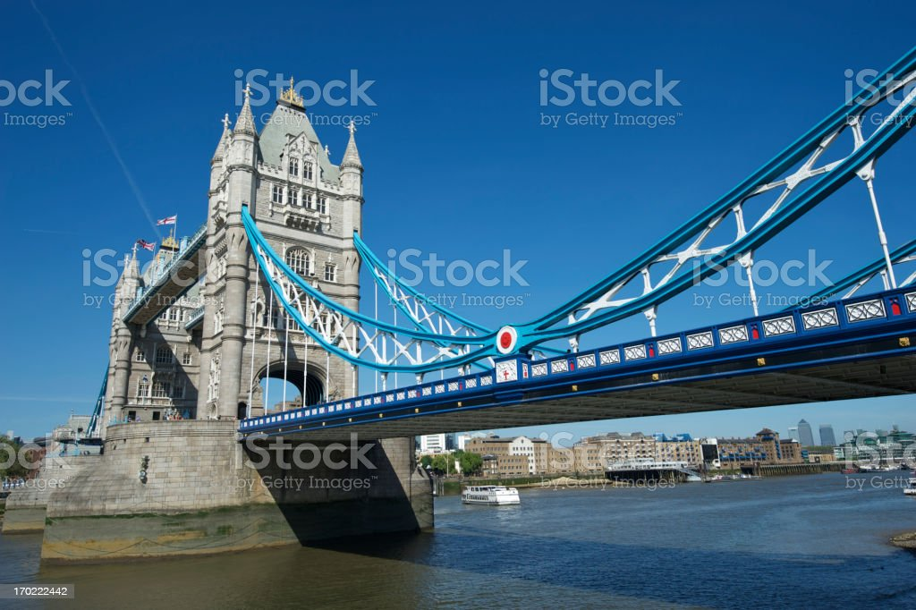 London Tower Bridge Bright Blue Sky Horizontal royalty-free stock photo