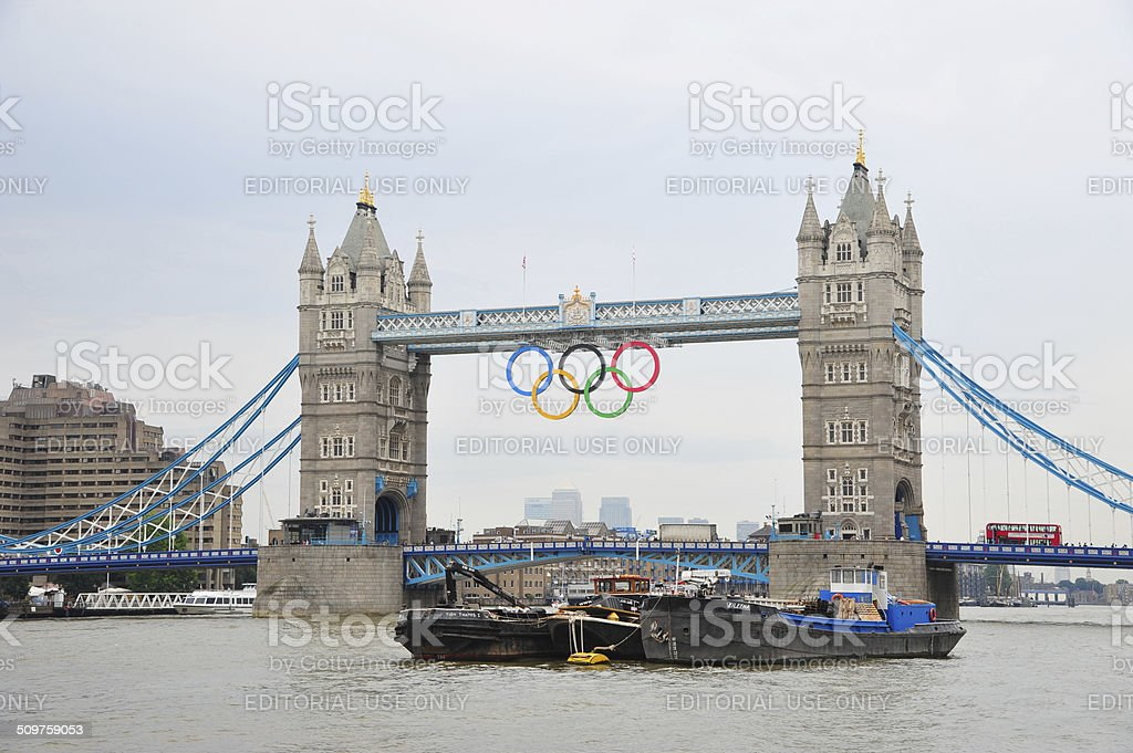 London - Tower Bridge during Olympics stock photo
