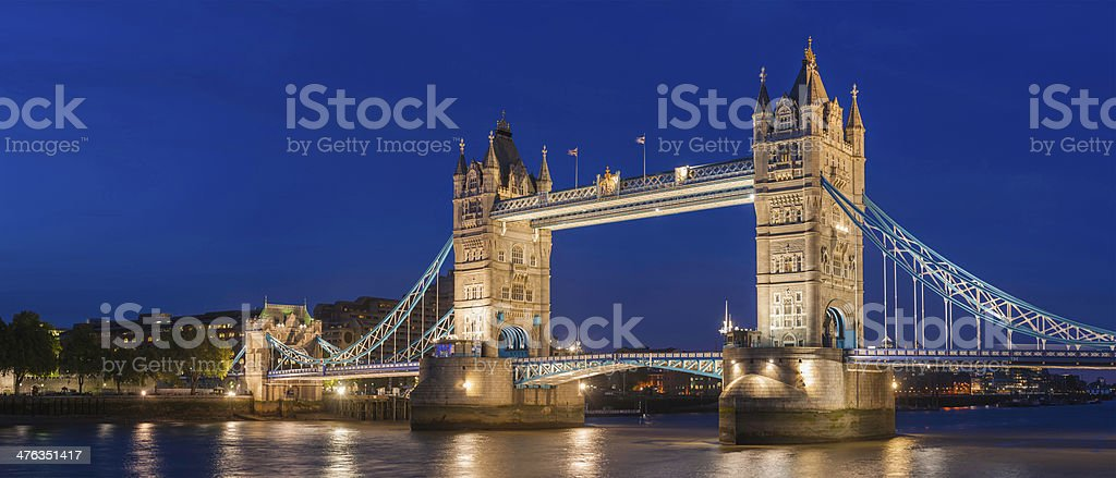 London Tower Bridge illuminated at dusk iconic Thames landmark UK royalty-free stock photo