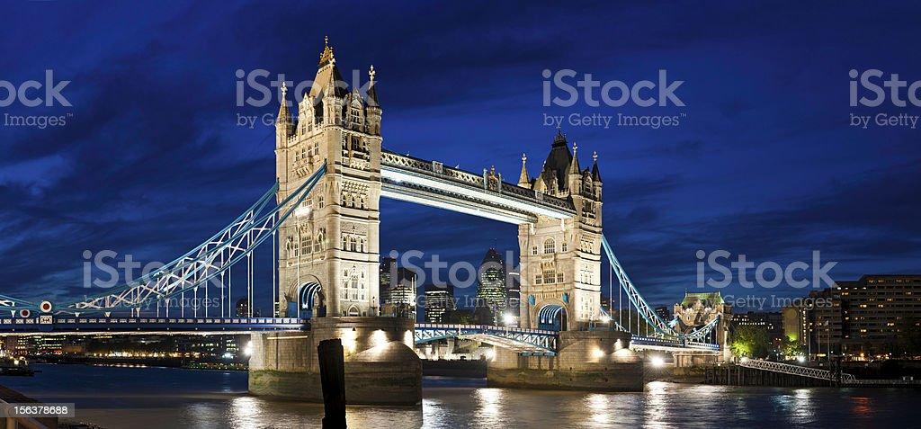 London Tower Bridge illuminated night River Thames UK royalty-free stock photo