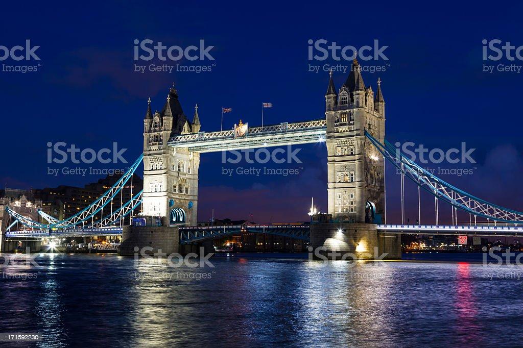 London Tower Bridge Iluminated at Dusk, United Kingdom royalty-free stock photo