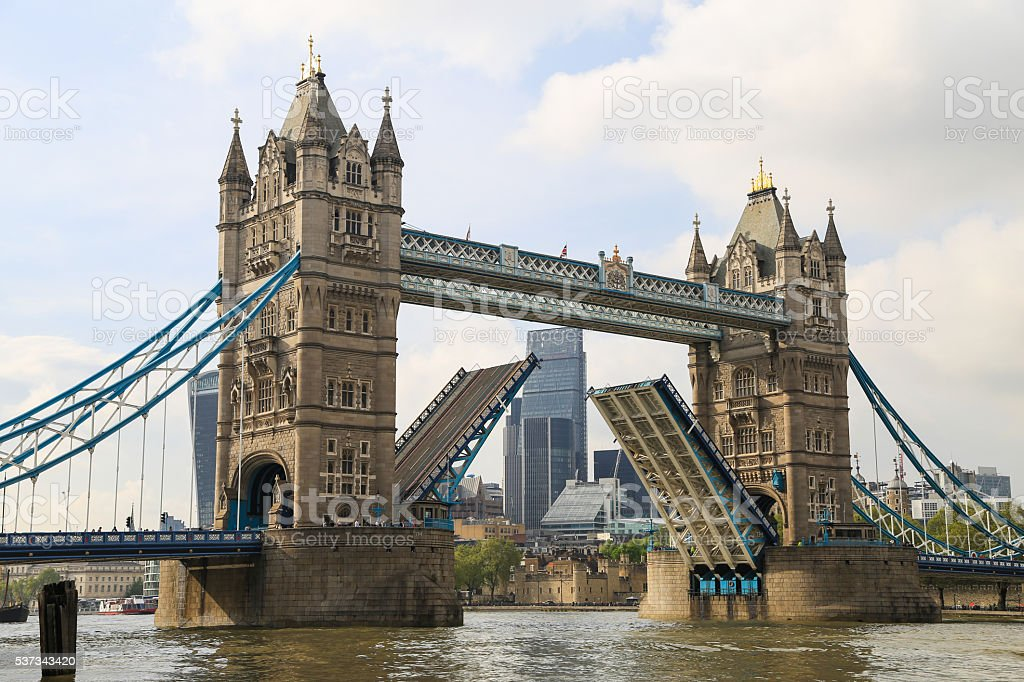 London Tower Bridge on Thames River in London. stock photo