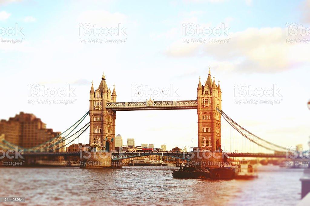 London Tower Bridge on Thames River in London stock photo