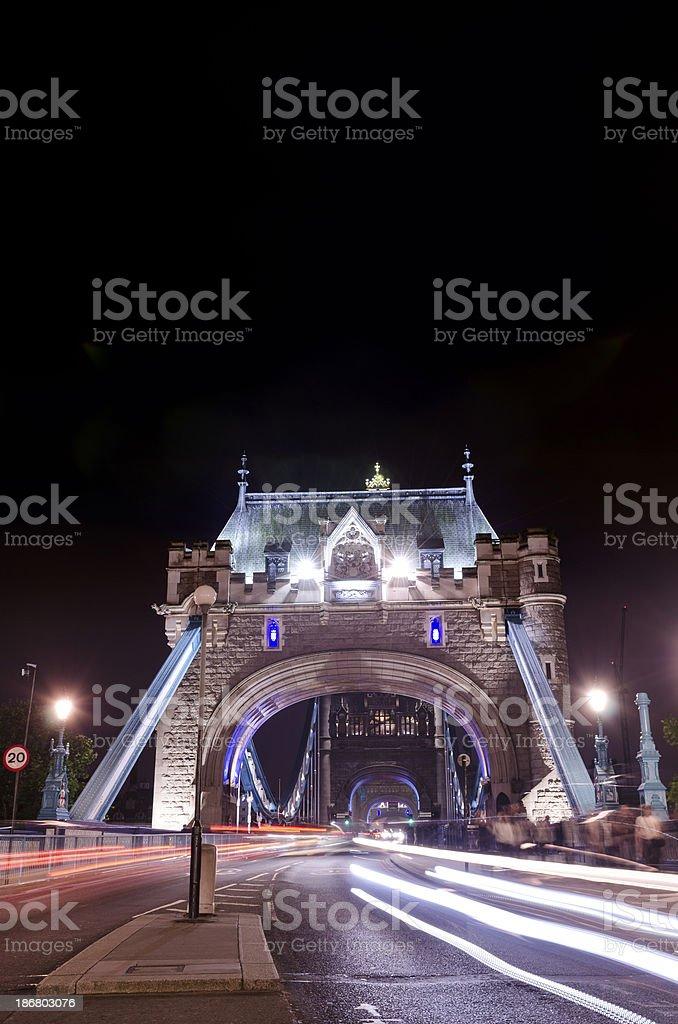 London, Tower Bridge traffic at night royalty-free stock photo