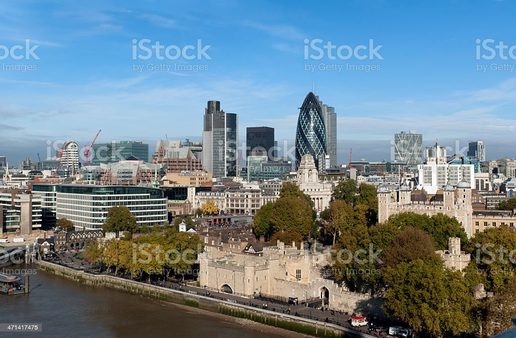 London Tower with City of London scyscrapers royalty-free stock photo