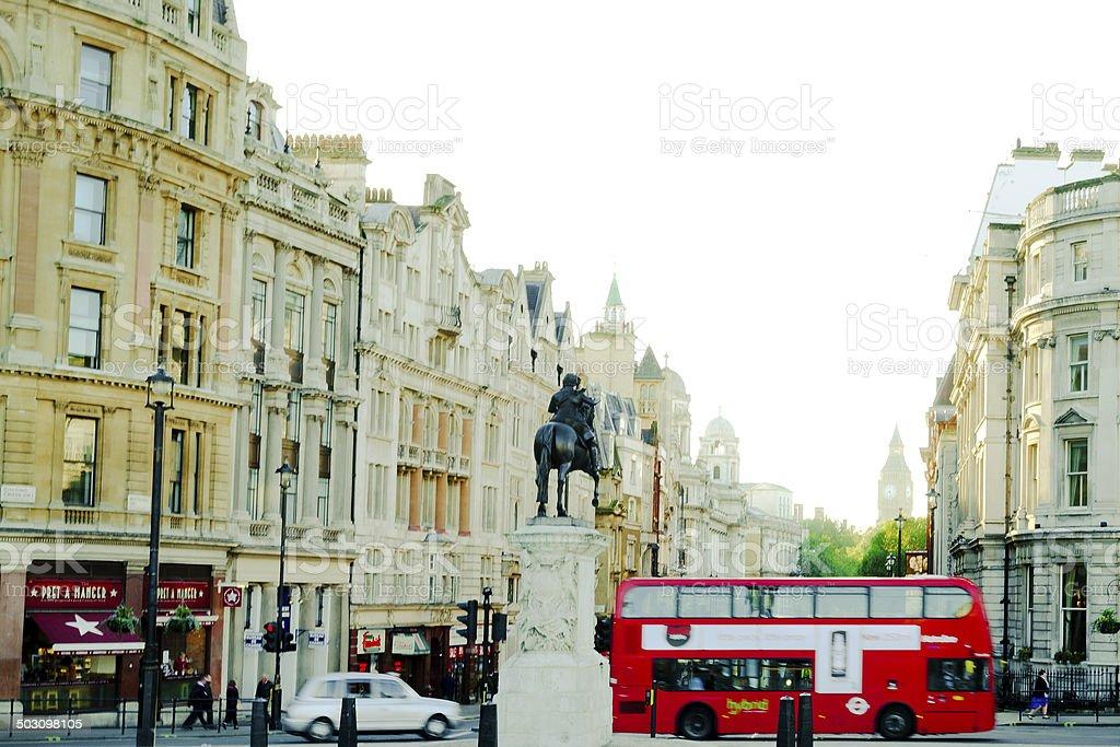 London, Trafalgar Square, Red Bus, Big Ben royalty-free stock photo