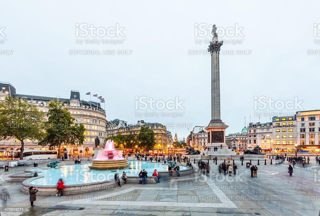 London, Trafalgar Square with Nelson's Column at twilight stock photo