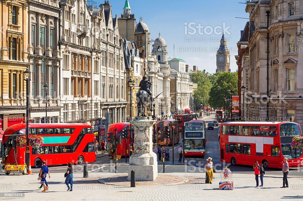 London, Traffic on Trafalgar square stock photo
