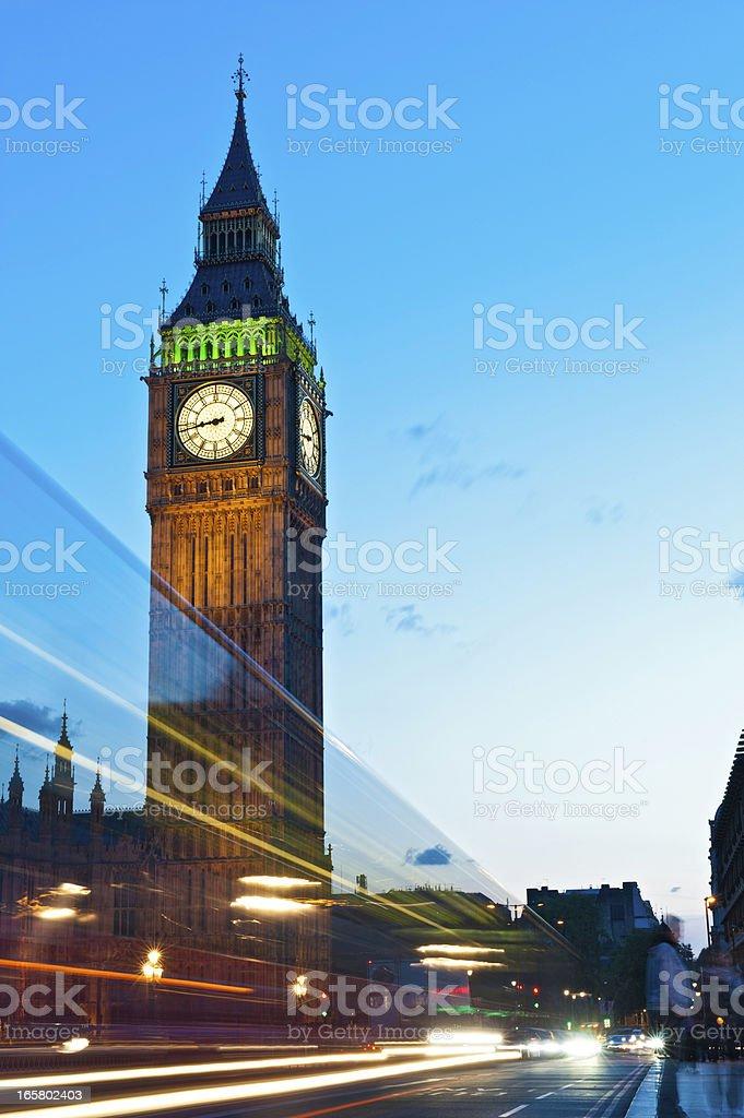 London traffic rushing past Big Ben Westminster Bridge UK royalty-free stock photo