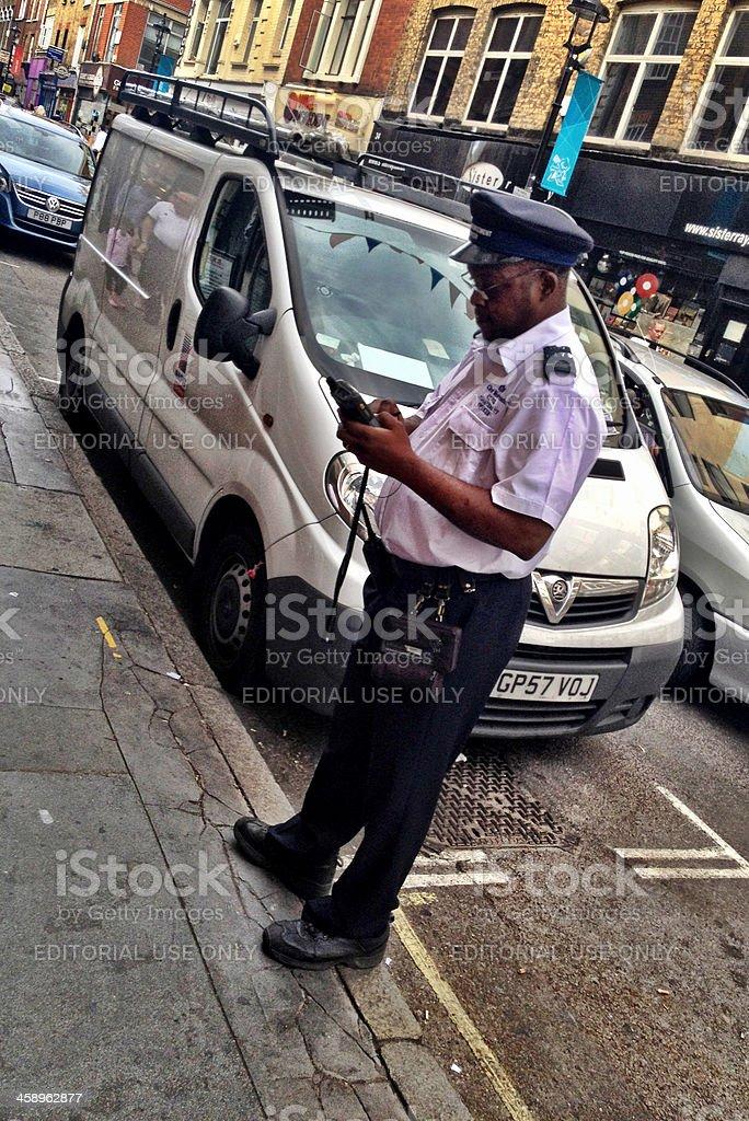 London traffic warden at work stock photo