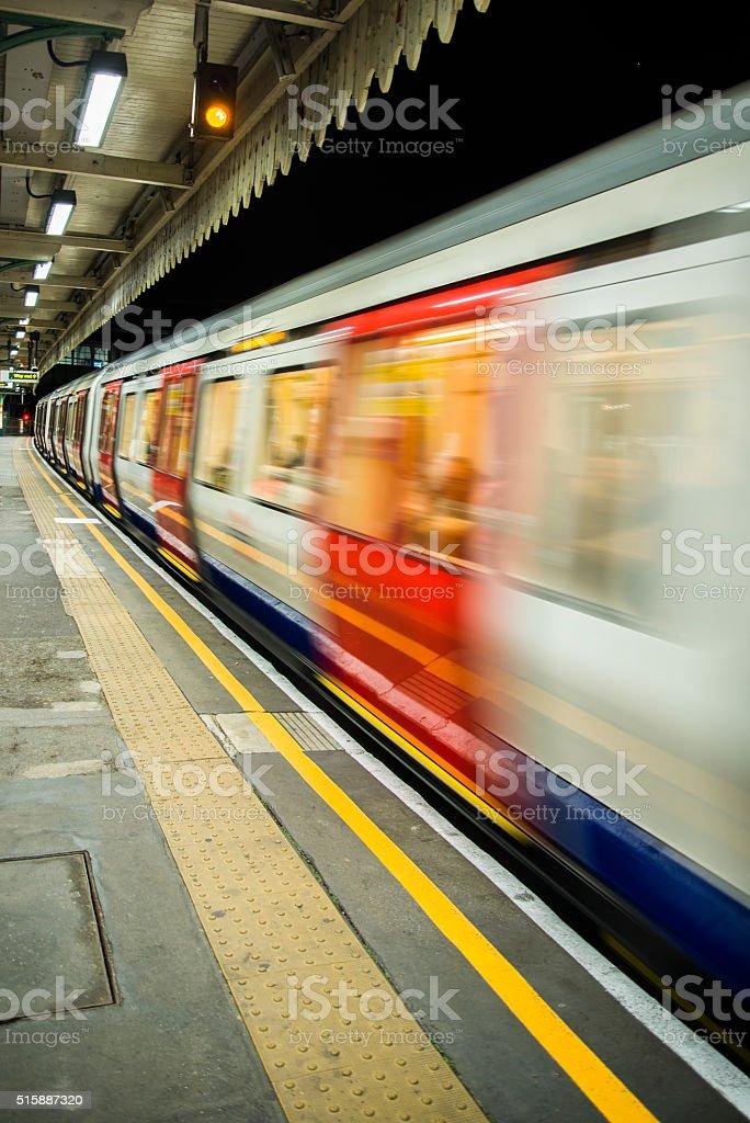 London train at night stock photo