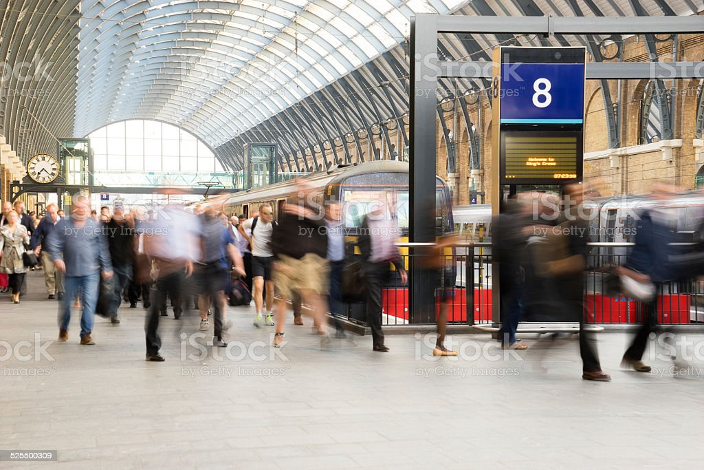 London Train Tube station Blur people movement in rush hour stock photo