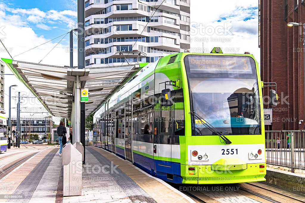 London Tramlink tram 2551 departing Croydon stop stock photo