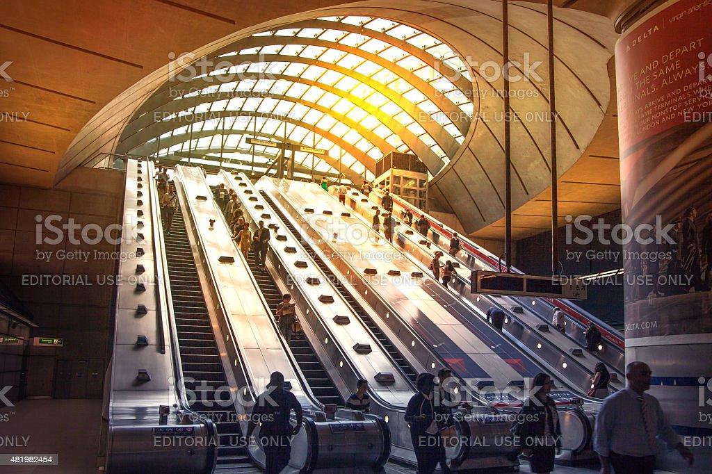 London tube, Canary Wharf station stock photo