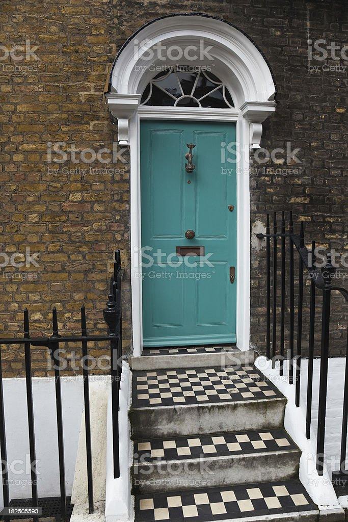London- turquoise door royalty-free stock photo