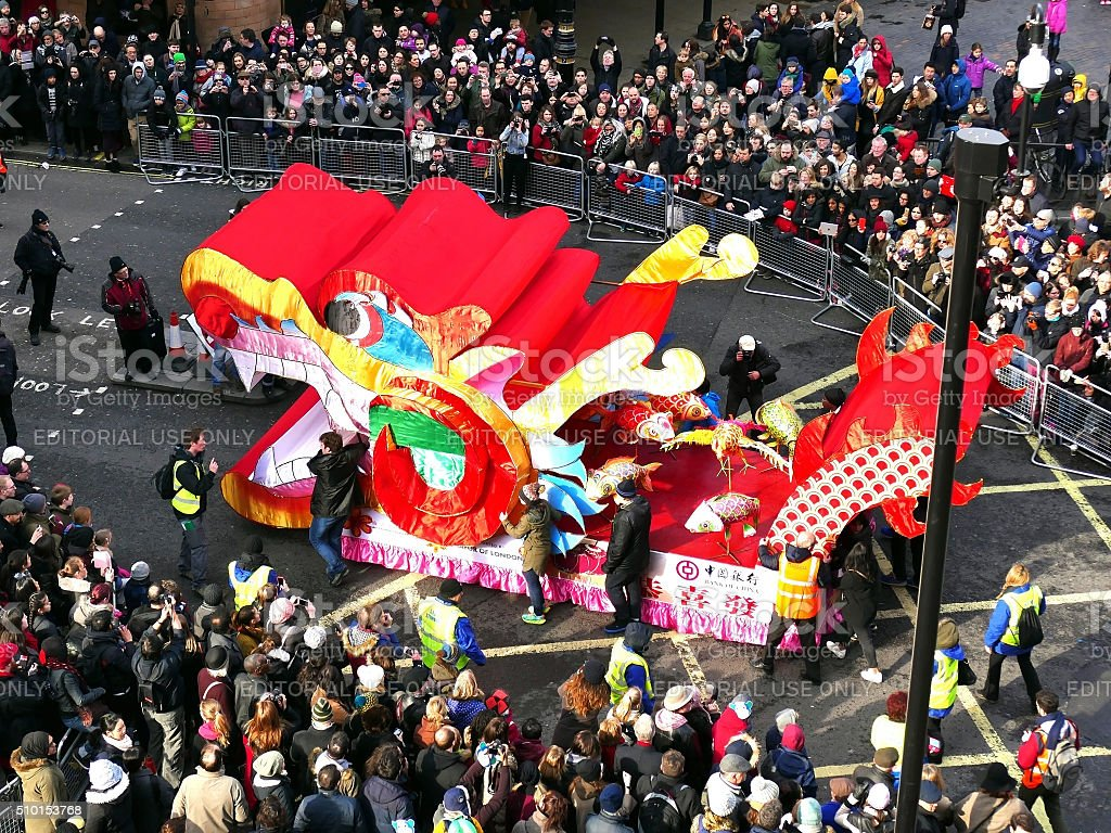 London, UK - 14 February 2016: Chinese New Year 2016 stock photo