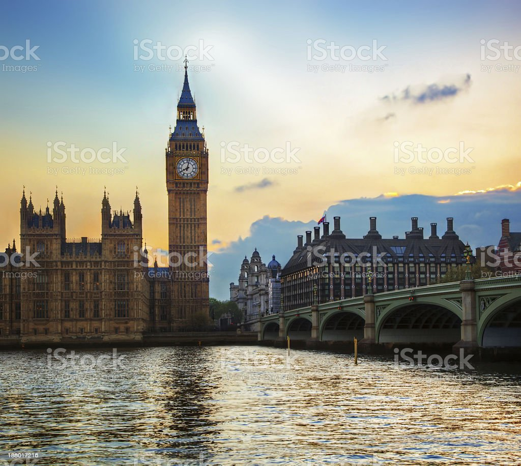 London, UK. Big Ben, the Palace of Westminster at sunset stock photo