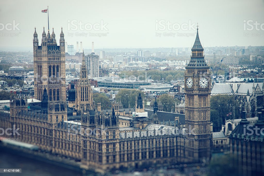 London UK city center aerial view Big Ben stock photo