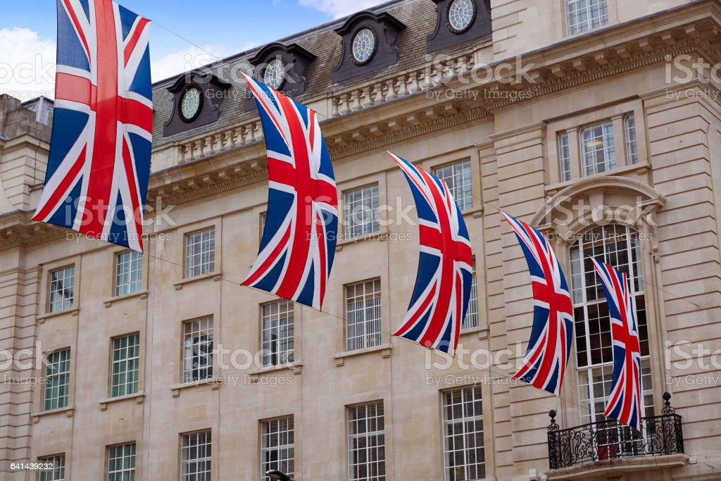 London UK flags in Piccadilly Circus stock photo