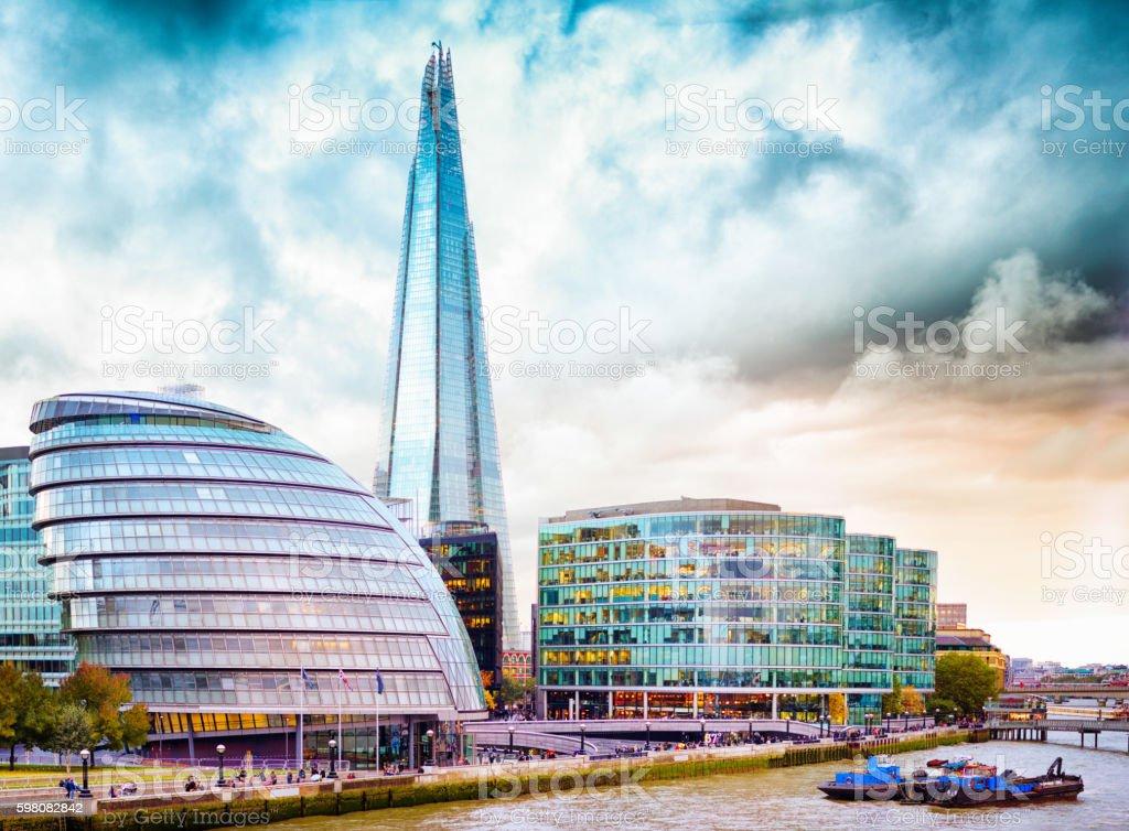 London UK South bank skyline on a stormy evening stock photo
